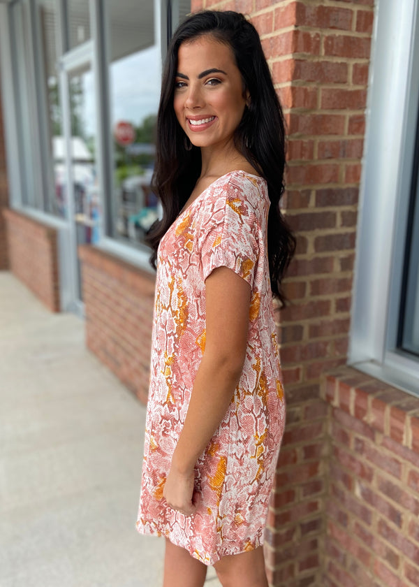 Cheery Disposition Salmon Snake Dress-Shop-Womens-Boutique-Clothing