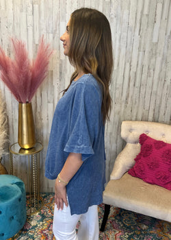 Hope In All Blue Fuzzy Cardigan Sweater-Shop-Womens-Boutique-Clothing