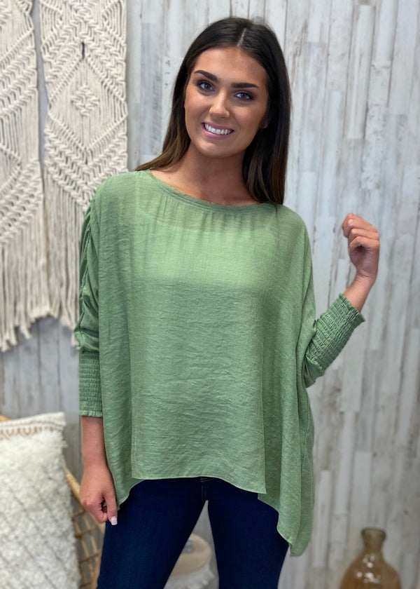 Lovely Whisper Sage Linen Top-Shop-Womens-Boutique-Clothing