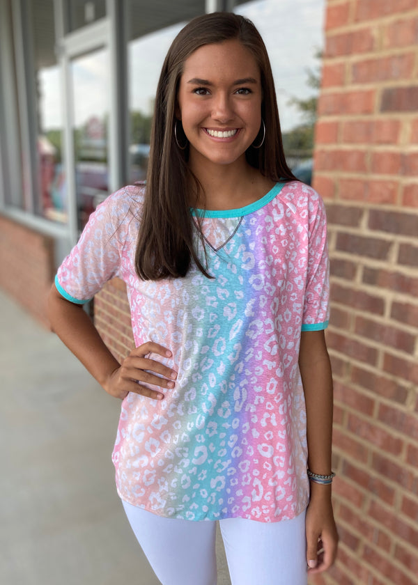 Colorful World Pastel Leopard Top-Shop-Womens-Boutique-Clothing