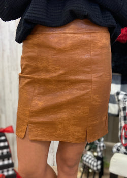 At The After Party Camel Leather Skirt-Shop-Womens-Boutique-Clothing