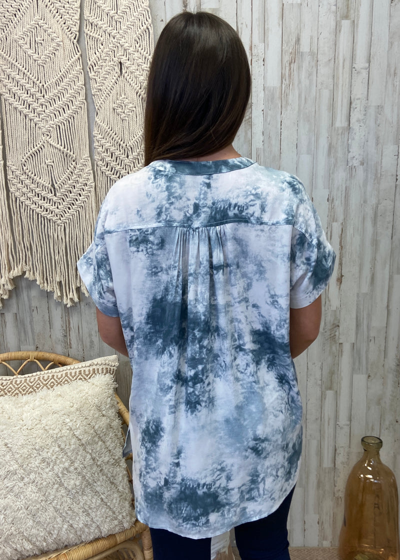 In The Scene Teal Tie Dye Top-Shop-Womens-Boutique-Clothing
