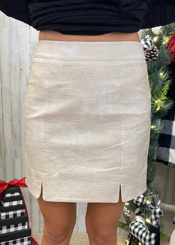 At The After Party Cream Leather Skirt-Shop-Womens-Boutique-Clothing