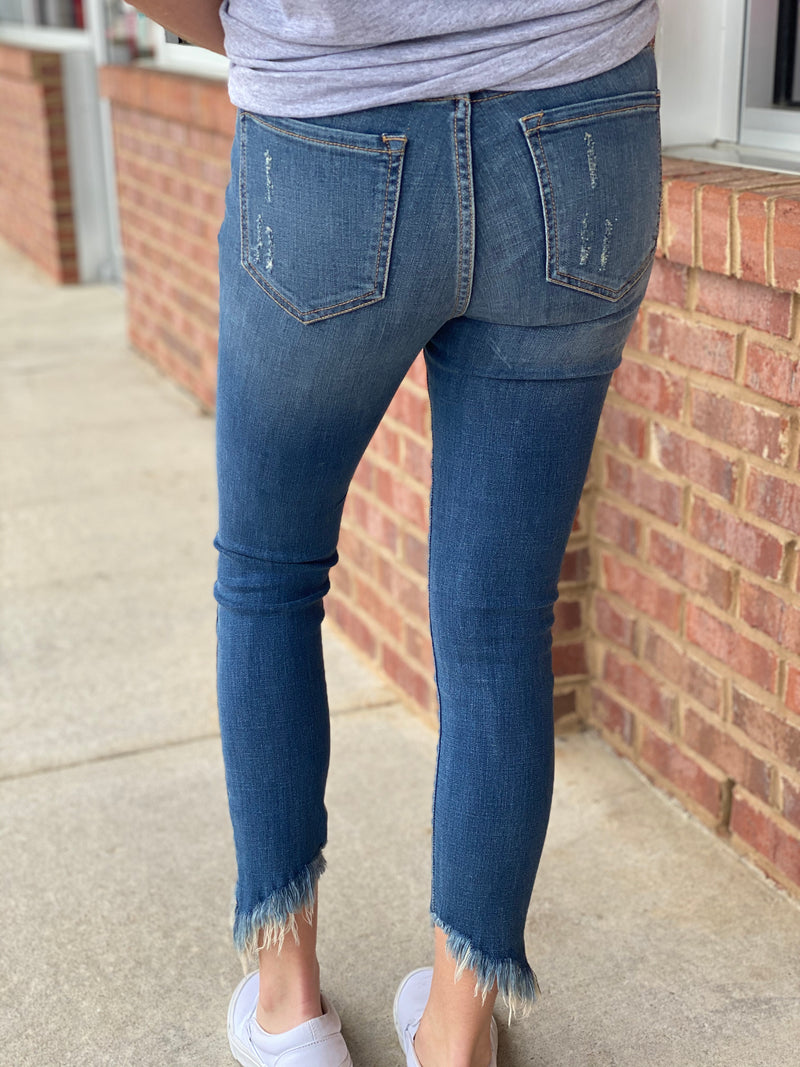 All Is Fine Medium Denim Distressed Slanted Fray Jeans-Shop-Womens-Boutique-Clothing