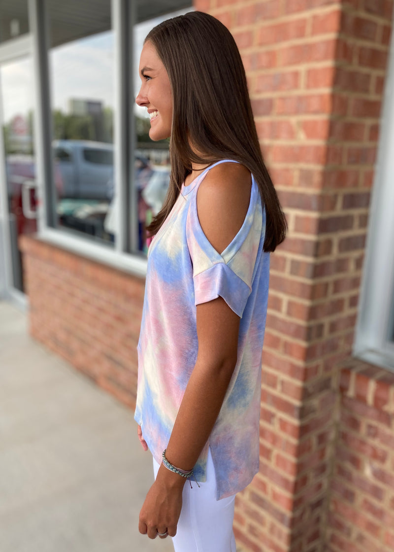 Lovely Bliss Blue Tie Dye Top-Shop-Womens-Boutique-Clothing