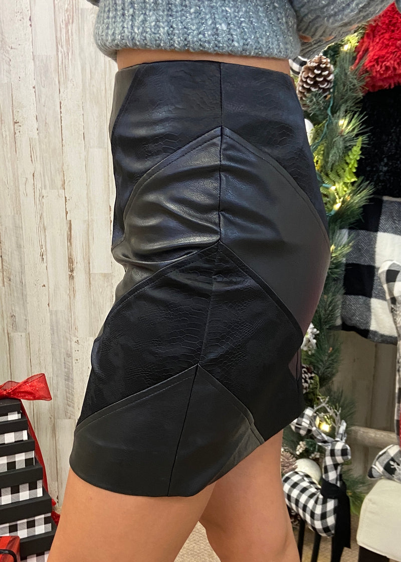 Starlit Nights Black Leather Skirt-Shop-Womens-Boutique-Clothing