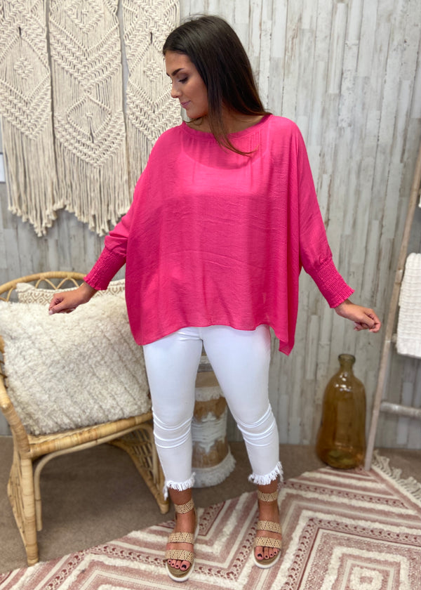 Lovely Whisper Hot Pink Linen Top-Shop-Womens-Boutique-Clothing