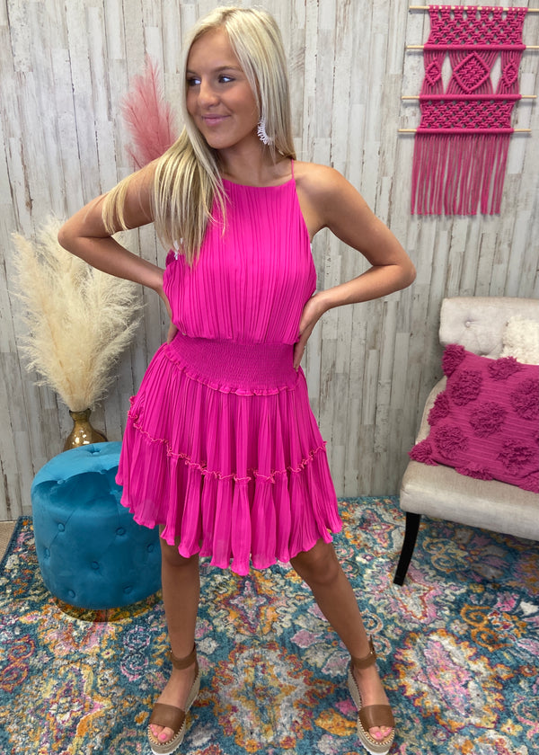 Cheers Baby Hot Pink Smocked Dress-Shop-Womens-Boutique-Clothing
