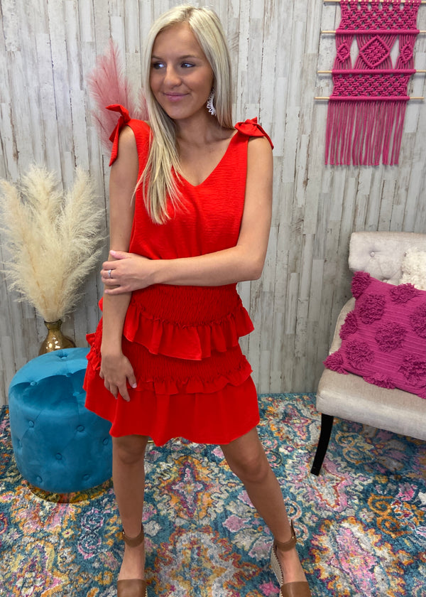 Dropping Hints Red Smocked Dress-Shop-Womens-Boutique-Clothing