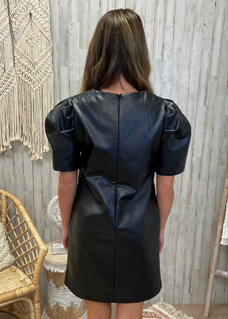 Ready for Date Night Black Faux Leather Dress-Shop-Womens-Boutique-Clothing