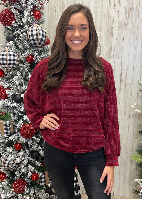 Brightest Babe Burgundy Striped Top-Shop-Womens-Boutique-Clothing