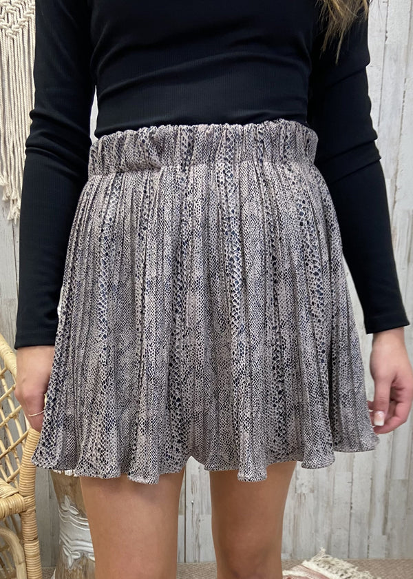 Lavish Times Mocha Snakeprint Skirt-Shop-Womens-Boutique-Clothing