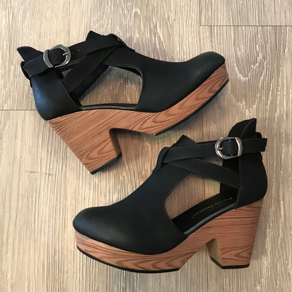 Zara Black Suede Clogs-Shop-Womens-Boutique-Clothing