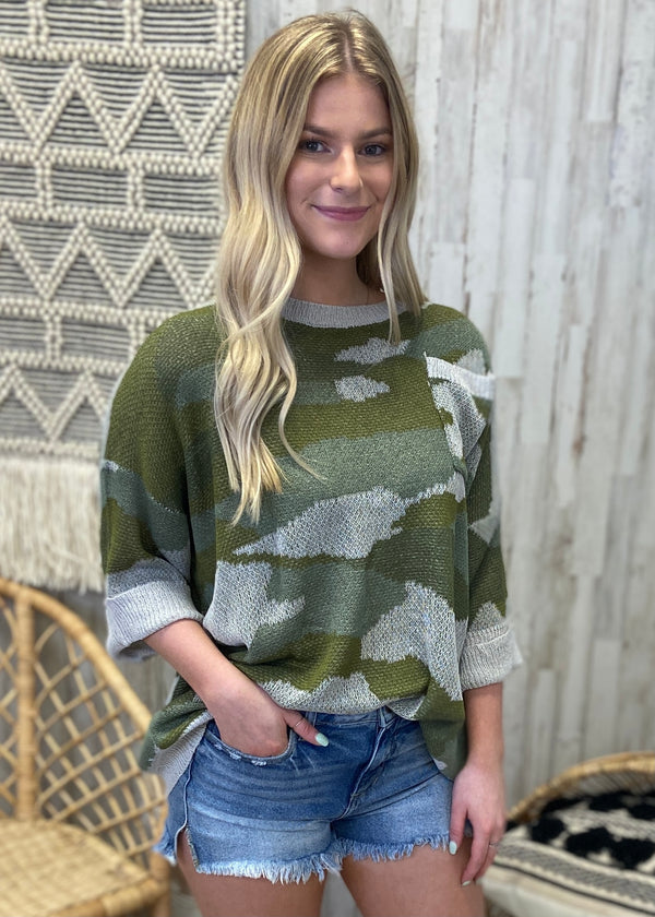 Commence The Casual Olive Camo Sweater-Shop-Womens-Boutique-Clothing