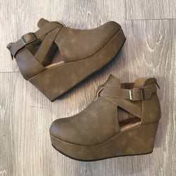 Faith Taupe Buckle Wedge-Shop-Womens-Boutique-Clothing
