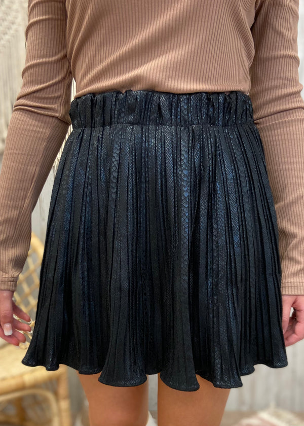 Lavish Times Black Snakeprint Skirt-Shop-Womens-Boutique-Clothing