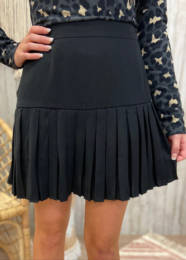 Bombshell Material Black Pleated Skort-Shop-Womens-Boutique-Clothing