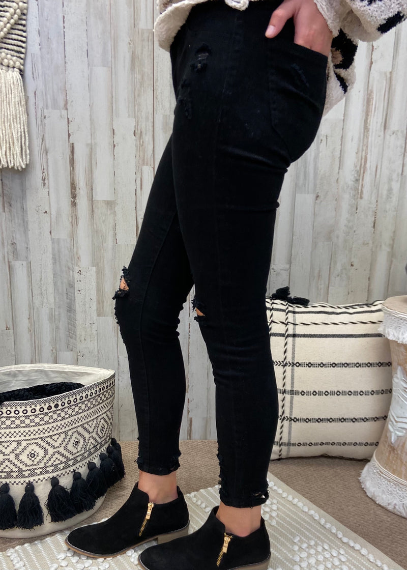 For The Record Black Mid Rise Skinny Jeans-Shop-Womens-Boutique-Clothing