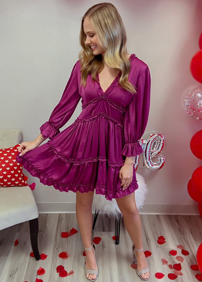 Call You Mine Plum Snakeskin Bell Sleeve Maxi Dress-Shop-Womens-Boutique-Clothing