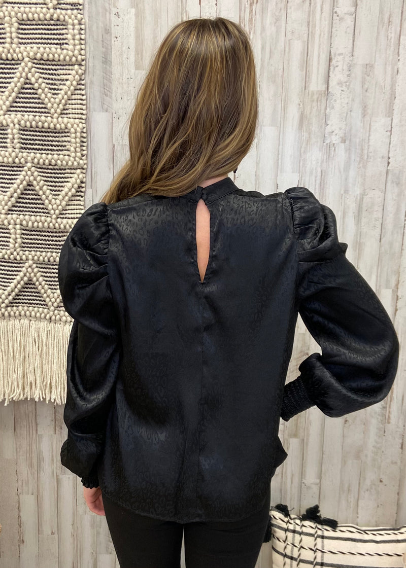 Hidden Secret Black Leopard Satin Top-Shop-Womens-Boutique-Clothing