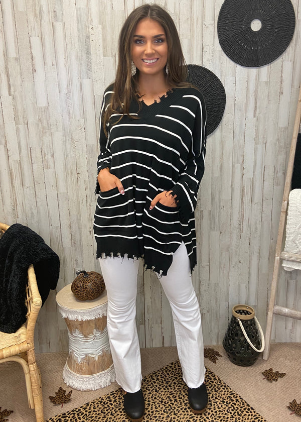 Cozy Stay Black Striped Sweater-Shop-Womens-Boutique-Clothing