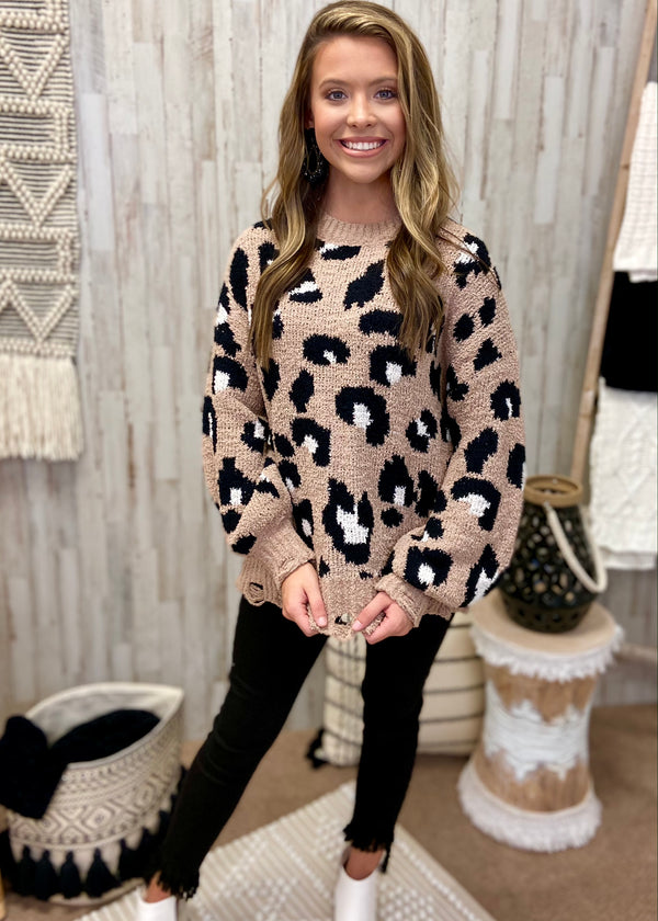 Living Wild Mocha Leopard Sweater-Shop-Womens-Boutique-Clothing