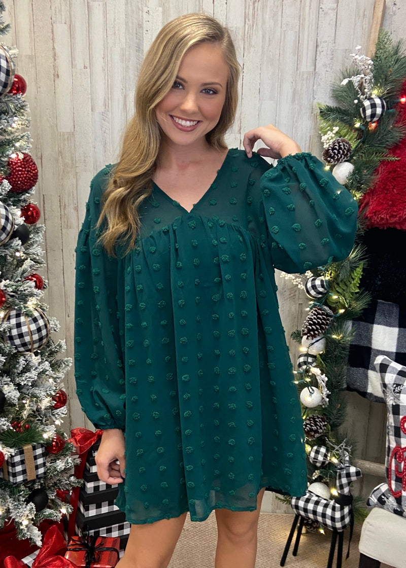 Flawless Beauty Hunter Green Babydoll Dress-Shop-Womens-Boutique-Clothing