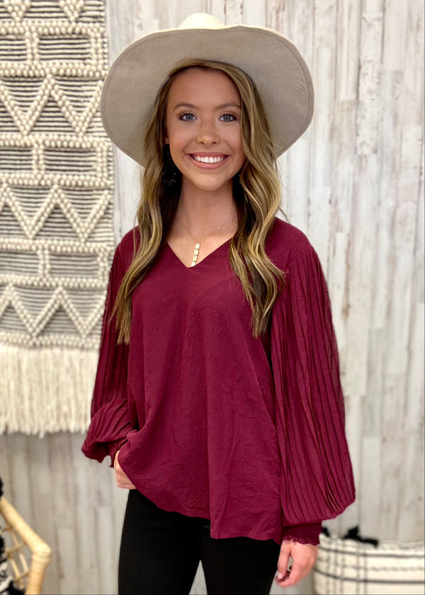 Picture Perfect Burgundy V-neck Top-Shop-Womens-Boutique-Clothing