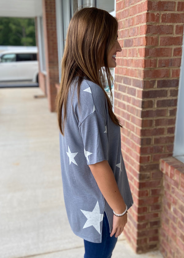 Dialed In Blue/Gray Star Top-Shop-Womens-Boutique-Clothing