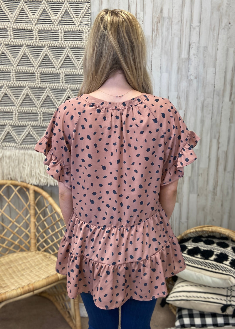 Pretty Perfect Rose Spotted Top-Shop-Womens-Boutique-Clothing
