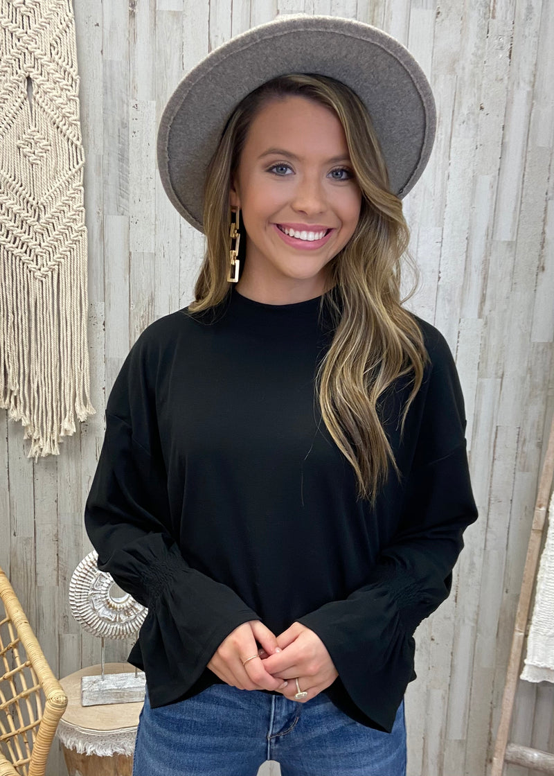 Influencer Life Black Smocked Top-Shop-Womens-Boutique-Clothing