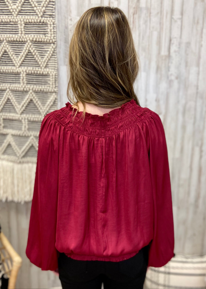 Polished Presence Burgundy Smocked Top-Shop-Womens-Boutique-Clothing