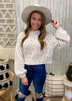 Cue The Confetti Cream Sweater-Shop-Womens-Boutique-Clothing