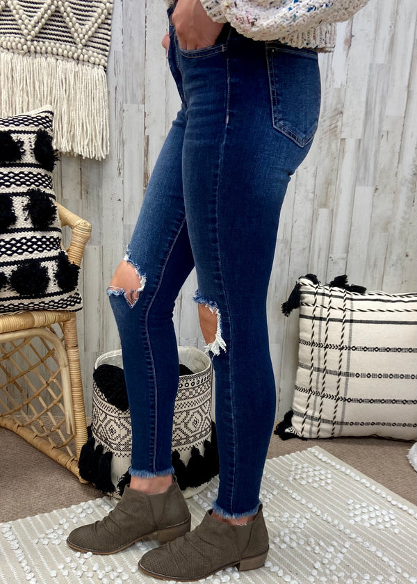 Backstage Passes Denim Knee Hole Skinny Jeans-Shop-Womens-Boutique-Clothing