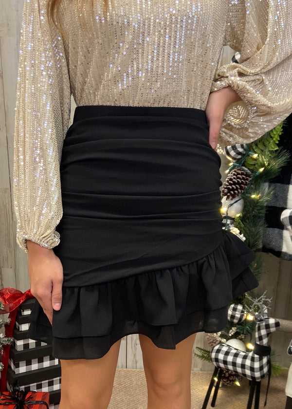 Lets Do This Black Ruched Skirt-Shop-Womens-Boutique-Clothing