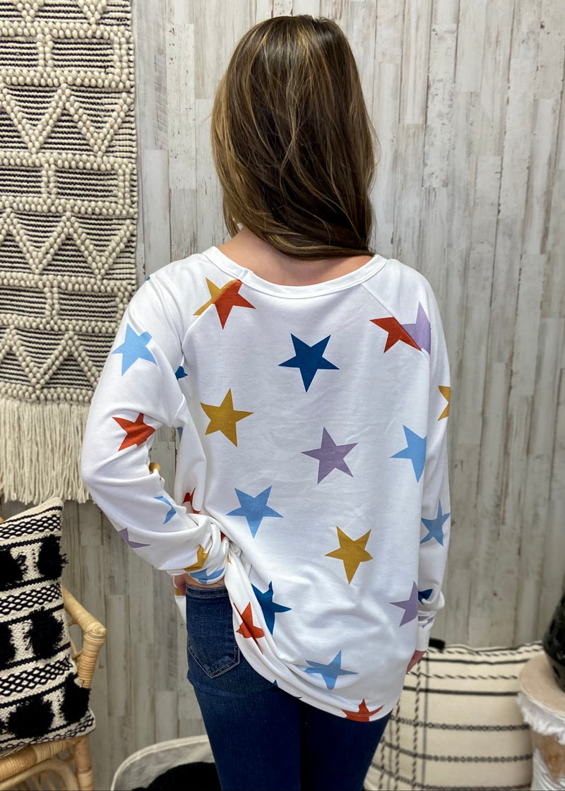 Shooting For The Stars Ivory Multicolor Top-Shop-Womens-Boutique-Clothing