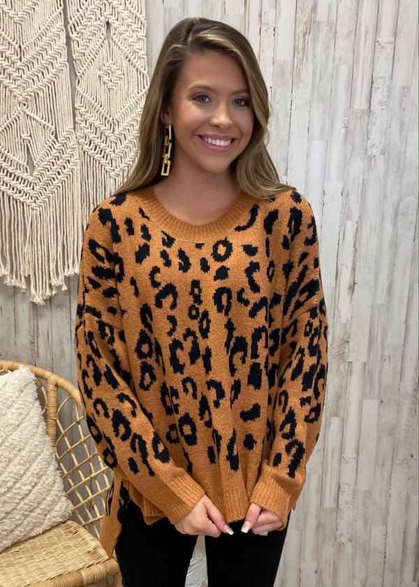 Cuddly Classic Camel Animal Print Sweater-Shop-Womens-Boutique-Clothing