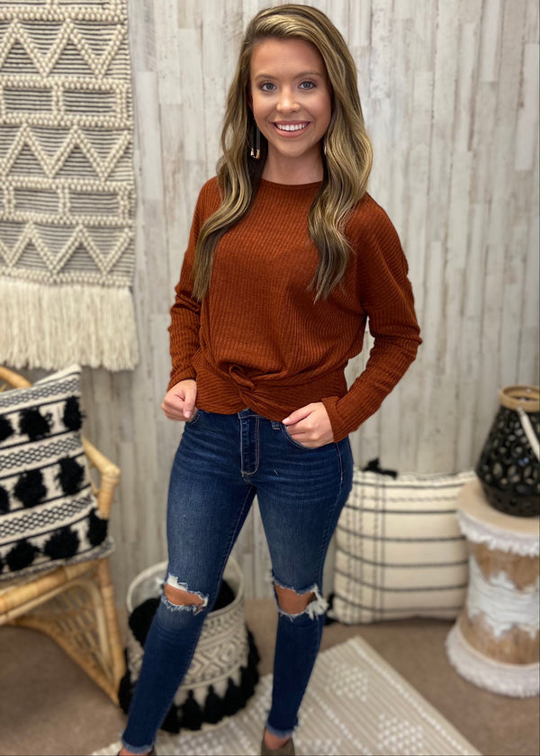 By The Fire Rust Knot Top-Shop-Womens-Boutique-Clothing