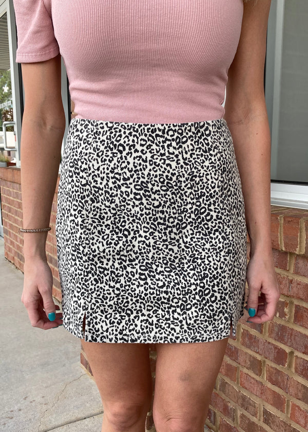 Wild Hearts Ivory Leopard Skirt-Shop-Womens-Boutique-Clothing