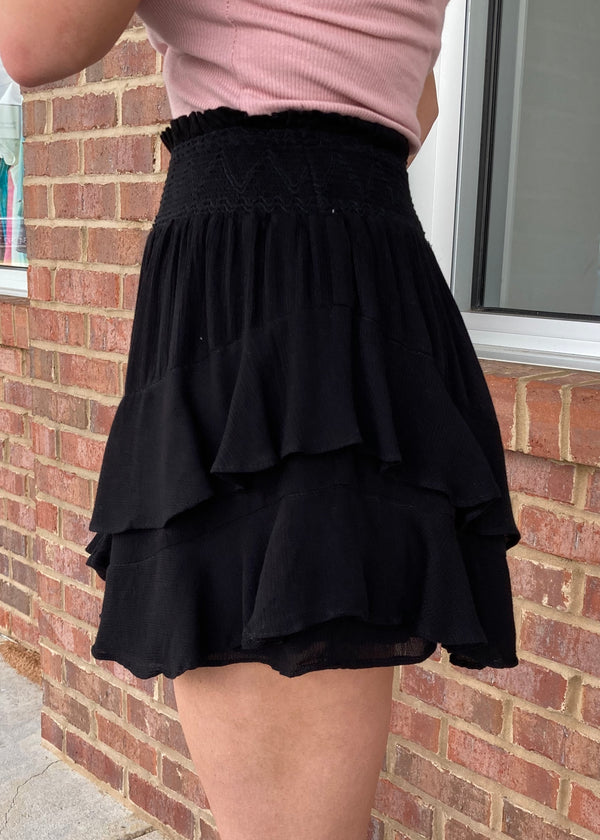 Purely Love Black Smocked Skirt-Shop-Womens-Boutique-Clothing