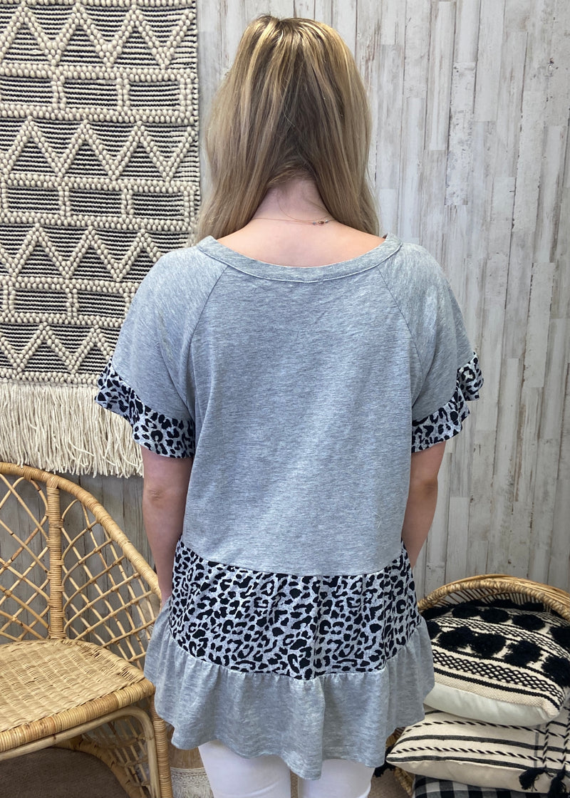 Positive Attitude Heather Grey Leopard Top-Shop-Womens-Boutique-Clothing