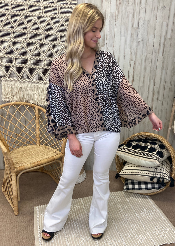 Wild Connections Mocha Animal Print Top-Shop-Womens-Boutique-Clothing