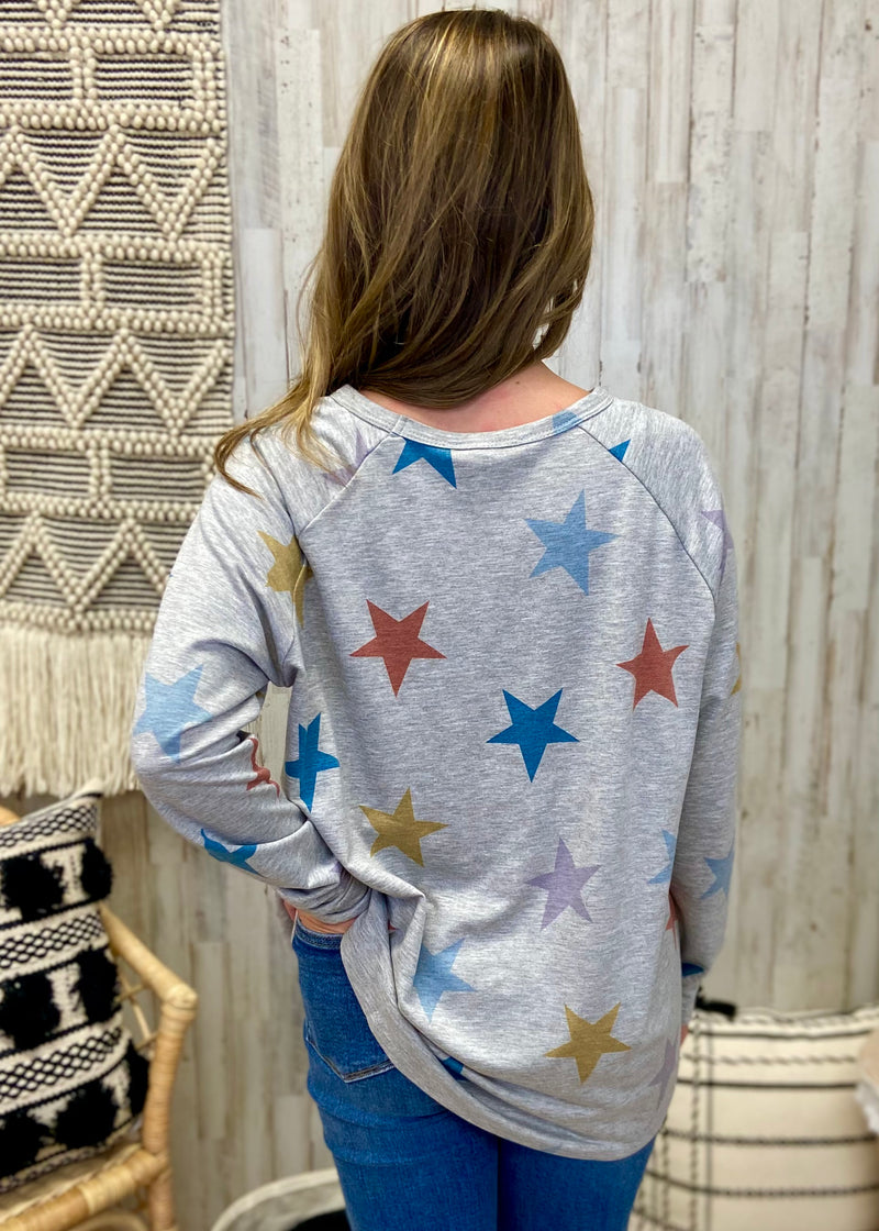 Shooting For The Stars Grey Multicolor Top-Shop-Womens-Boutique-Clothing