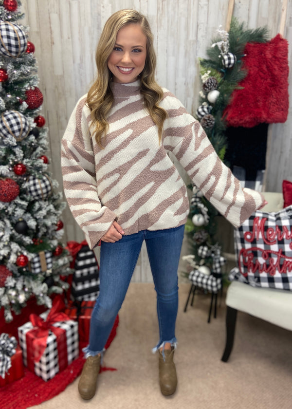 Brr Me Not Mocha Zebra Sweater-Shop-Womens-Boutique-Clothing