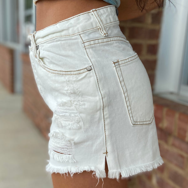 Going Out White Denim Distressed Shorts-Shop-Womens-Boutique-Clothing