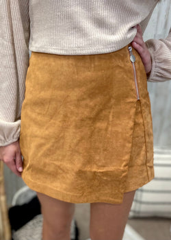 With Sass Camel Zipper Skort-Shop-Womens-Boutique-Clothing