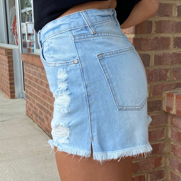 Going Out Light Denim Distressed Shorts-Shop-Womens-Boutique-Clothing