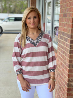 Always Yes Mauve/Ivory Striped Leopard Band Top-Shop-Womens-Boutique-Clothing