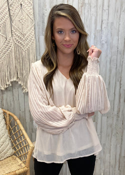 Grasp On Gorgeous Natural Pleated Top-Shop-Womens-Boutique-Clothing