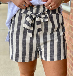 Stuck With You Black Striped Paper Bag Shorts-Shop-Womens-Boutique-Clothing